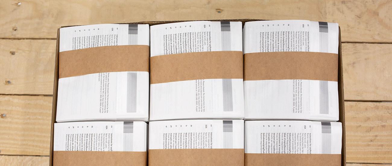 Druckerei Hohl Beipackzettel gepackt